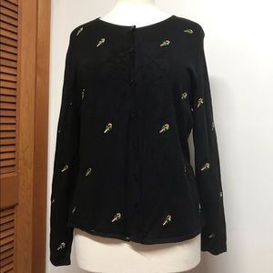 Etoile Black Christmas Cardigan with Embroidery
